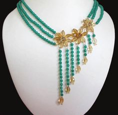 Designer Citrine & Green Onyx beads necklace with by BeadsAndChips