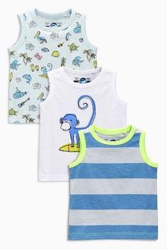 Kaufen Sie Unterhemden mit Affenmotiven in Blau/Weiß, Dreierpack (3 Monate – 6 Jahre) heute online bei Next: Deutschland