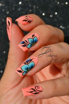 Coral pink nails with blue flowers Nail Design, Nail Art, Nail Salon, Irvine, Newport Beach Flower Nail Designs, Flower Nail Art, Nail Art Designs, Coral Nail Designs, Coral Nails With Design, Nails With Flower Design, Coral Pink Nails, Blue Nails, Coral Blue