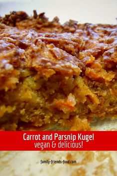 Parsnip and carrot kugel. Sweet root vegetables shine in this delicious parsnip and carrot kugel. Crispy edges and a soft, almost cakey interior. A delicious vegan side dish.  #kugel #carrot #parsnip #carrotkugel #jewishfood #recipe #vegan Kosher Desserts, Kosher Recipes, Vegan Recipes, Jewish Desserts, Jewish Recipes, Vegan Side Dishes, Side Dish Recipes, Hidden Vegetables, Root Vegetables