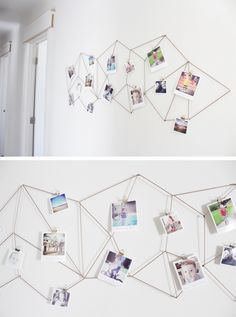 ▷ 1001 + ideas on how to make a creative wall decoration yourself! wall design-living-fotowand-do it yourself-Rope Photos of family photos-creative-deco Homemade Wall Decorations, Yellow Crafts, Decoration Photo, Wooden Wreaths, Cute Wall Decor, Photo Deco, Wooden Cubes, Wall Ornaments, Scrap Wood Projects