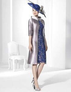 Trajes de fiesta en dos piezas: vestido en Mikado gris y abrigo en Giupur Azul.