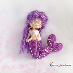 Handmade by 🌸Pattern by 🌸 Crochet Mermaid, Mermaid Diy, Mermaid Dolls, Crochet Cross, Cute Crochet, Crochet Baby, Crochet Patterns Amigurumi, Amigurumi Doll, Knitted Dolls