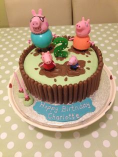 Peppa Pig muddy puddles birthday cake.