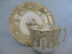 MID 19THC G F BOWERS TEA CUP & SAUCER WITH COUNTRY SCENE