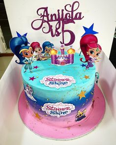 No photo description available. Cake Girls, Girl Cakes, Cupcakes, Cupcake Cakes, Shimmer And Shine Cake, 1st Birthday Parties, Birthday Cake, Bday Girl, Violets