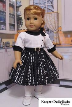 Keepers Dolly Duds Side Collar Dress dress pdf sewing pattern designed to fit 18 inch American Girl dolls American Doll Clothes, Ag Doll Clothes, Dress Clothes, Doll Dress Patterns, Clothing Patterns, American Girl, Collar Dress, Baby Dress, Girl Outfits