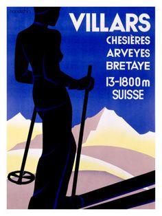 Poster Print Wall Art Print entitled Villars, Suisse,Vintage Poster, by Johannes Handschin Lausanne, Wall Art Prints, Fine Art Prints, Poster Prints, Evian Les Bains, Vintage Ski Posters, Retro Illustration, Advertising Poster, Fashion Advertising