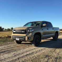 I'll be sad to see this go tomorrow. I've never driven a truck I loved so much. This one has every feature I want and it's even the Quicksand color I'm in love with. #trucksofinstagram #offroad #offroadlife #pickups #trucks #dreamtruck #toyota #tundra #tundranation #tundraoffroad #trdpro #4wd #4x4