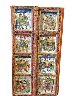 Antique old painted door panels Indian princess on by MOGULGALLERY