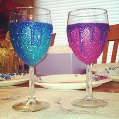 Dripping glitter wine glasses