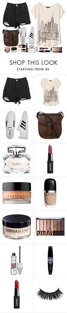 """""""Street style"""" by rebekah3383 ❤ liked on Polyvore featuring Boohoo, Banana Republic, adidas, DUBARRY, Gucci, Anastasia Beverly Hills, Marc Jacobs, Dermablend, Too Faced Cosmetics and Benefit"""