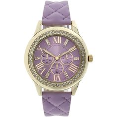 Womens Crystal-Accent Quilted Purple Strap Watch ($17) ❤ liked on Polyvore featuring jewelry, watches, geneva watches, plastic jewelry, leather-strap watches, plastic watches and bezel watches