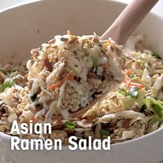 Ramen Salad A quick salad you say? Here's my Asian Ramen Salad that is Sweet, Savory and Delicious with the Perfect Amount of Crunch!A quick salad you say? Here's my Asian Ramen Salad that is Sweet, Savory and Delicious with the Perfect Amount of Crunch! Raman Noodle Salad, Raman Salad, Coleslaw With Ramen Noodles, Ramen Cabbage Salad, Asian Ramen Salad, Japanese Cabbage Salad, Asian Salads, Chinese Salad, Chinese Coleslaw