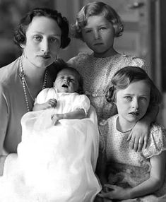 Crown Princess Martha of Norway with her 3 children (from top):  Princess Astrid, Princess Ragnhild, and newborn Prince Harald, the heir.