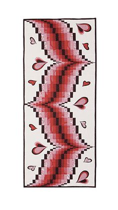 Heart Song Table Runner Pattern Download by Grizzly Gulch Gallery. Available at Connectingthreads.com Bargello Quilt Patterns, Heart Quilt Pattern, Bargello Quilts, Quilted Table Runners Christmas, Table Runner And Placemats, Table Runner Pattern, Asian Quilts, Quilted Wall Hangings, Small Quilts