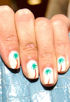Alexa Chung's palm tree-adorned nails
