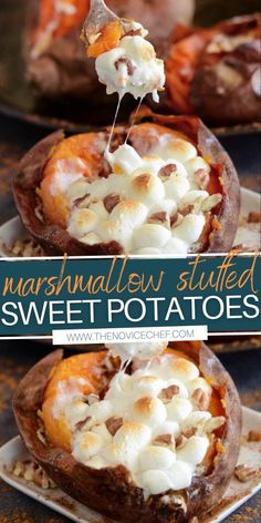 Thanksgiving Dinner For Two, Best Thanksgiving Side Dishes, Thanksgiving Desserts, Southern Thanksgiving Menu, Traditional Thanksgiving Recipes, Sweet Potatoes With Marshmallows, Recipes With Marshmallows, Sweet Potato Marshmallow, Loaded Sweet Potato