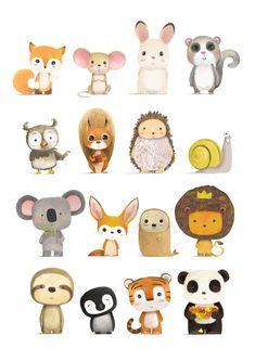 Dibujos animales illustration of animals petit monkey poster wild animals 50 x 70 cm illustration art design wildlife tropical elephant tiger cheetah toucan Baby Animals, Cute Animals, Draw Animals For Kids, Safari Animals, Animal Doodles, Post Animal, Cute Drawings, Simple Animal Drawings, Cartoons