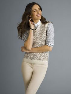 Ellen's exclusive neutral fair-isle sweater vest in a luxurious mercerized wool cashmere blended yarns.