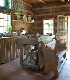 """Maybe a little too rustic! (obviously minus the vines, which we want to get rid of!) Rustic kitchen inside a restored """"Tennessee dog trot"""" log cabin (via Photos: Cabin Fever Cabin Kitchens, Cottage Kitchens, Kitchen Rustic, Primitive Kitchen, Country Kitchens, Farmhouse Kitchens, Cabins And Cottages, Log Cabins, Wooden Cabins"""