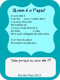 Dia dos pais  Questionário para os pequenos responderem doteserubis.blogspot.com.br