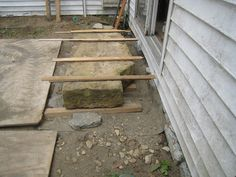 Salvaged stone steps finding a new (old) home.