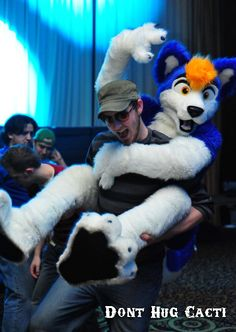 Blue Party Husky - by DontHugCacti #furries #furry #anthro #fursuit #costume #mask #subculture #nerdy #cute