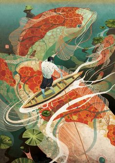 Fishing through the koi land. Sea illustration.