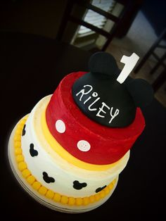 Mickey Birthday Cake by Olive Parties Mickey Birthday Cakes, Mickey Cakes, Mickey Mouse Cake, Mickey Party, Mickey Mouse Parties, Disney Themed Cakes, 3rd Birthday Parties, Baby Birthday, Birthday Ideas