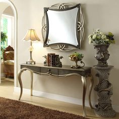 Beautiful console table painted in a rustic pewter two tone finish coupled with the Adele Mirror make a perfect entrance to any home. Console Table Behind Sofa, Buffet Console, Console Mirror, Mirror Set, Mirror Painting, Best Interior Design, Living Room Decor, Dining Room, Contemporary
