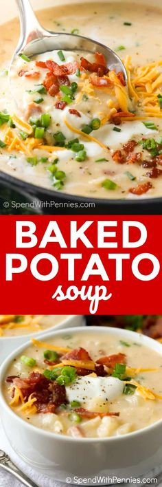Baked Potato Soup takes all of the comforting goodness of a fully loaded baked potato and turns it into a belly warming soup! #spendwithpennies #soup #potatosoup #bacon #cheese #bakedpotato #comfortfood #30minutemeal