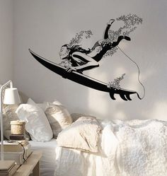 Decal Wall Vinyl Ocean Surfing Surf Girl Beach Vacation Decor z2168