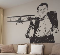 """Wall Stickers - Iconic still image from the classic film """"North By Northwest"""" directed by #AlfredHitchcock #CaryGrant #EvaMarieSaint #JamesMason #NorthByNorthWest #AlfredHitchcock"""