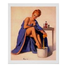 Vintage Retro Gil Elvgren Foot Spa Pin Up Girl Posters