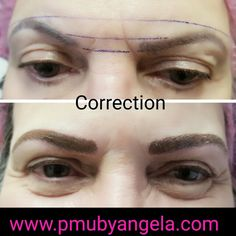 Corrected brows microblading Hairstroke  www.pmubyangela.com