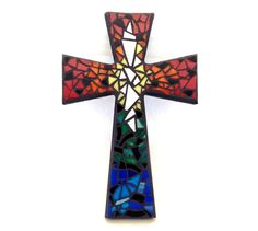 Mosaic Wall Cross, Rainbow, Multicolored Handmade Stained Glass Mosaic Design, by GreenBananaMosaicCo, $45.00