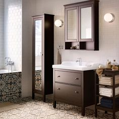 HEMNES/RÄTTVIKEN Wash Stand With Two Drawers, HEMNES High Mirror Cabinet  And Wall