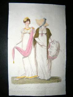 Belle Assemblee 1807 Hand Col Regency Fashion Print Evening Walking Dress  - white embroidered parasol with pink fringe