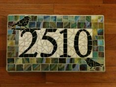 Custom Mosaic Address Plaque. $104.00, via Etsy. This Mosaic was Pinned By www.mosaicnumbers.com