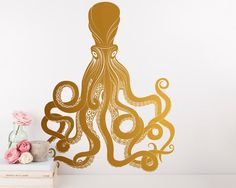 Octopus Wall Decal  Gold Vinyl Wall Decal by KennaSatoDesigns