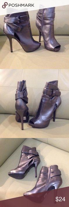Dark grey tip toe ankle back stilettos size 7 Open Hight heels, dark silver color Shoes Heels