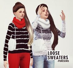 Loose Sweaters Set at Puresims via Sims 4 Updates