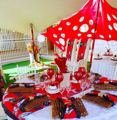Black, red and white Swazi traditional wedding decor by Shonga Events