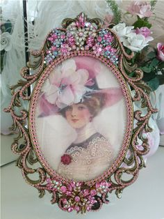 """Lady """"Hannah Leigh"""" Bella Enchanted Lady By Debbie-Weiss, Juliana,brush, comb… Shabby Chic Crafts, Shabby Chic Pink, Vintage Shabby Chic, Shabby Chic Decor, Shaby Chic, Vintage Costume Jewelry, Vintage Costumes, Jewelry Frames, Jewelry Art"""