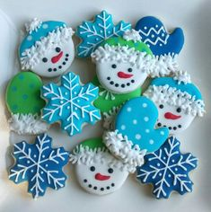 """Winter """"Let it snow""""  mini sugar cookies or large 3.5"""" with royal icing snowman,mittens,snowflakes"""