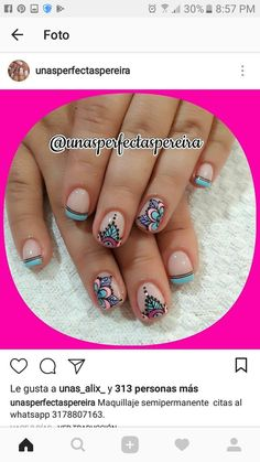 #unasdecoradas Funky Nail Designs, Pretty Nail Designs, Hot Nails, Hair And Nails, Nail Art Stripes, Nail Candy, Funky Nails, Oval Nails, French Tip Nails