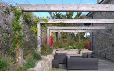 Myrtle Rd project - tensioned wires on simple pergola Deck Shade, Pergola Shade, Shade Garden, Pergola Curtains, Pergola Swing, Pergola Kits, Pergola Ideas, Porches, Garden Structures