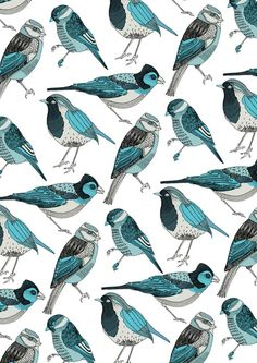 love this print ~ would be great inspiration for wallpaper or a focal wall of hand stamped birds ~ Pale Green Birds print by Polkip on Society6