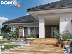Aksamit 8 projekt domu - Jesteśmy AUTOREM - DOMY w Stylu My House Plans, Exterior, Patio, Outdoor Decor, Home Decor, Design, Dreams, Cottage, Home Plans